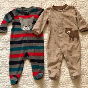 3-6 months baby boy fleece footed overalls
